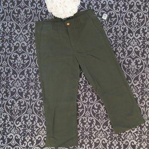 NWT Ralph Lauren Army Green Wide Leg Capri Pants